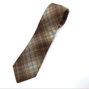 Pendleton 100% virgin wool plaid tie brown & tan